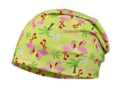 Kvalitní dětská bavlněná zimní čepice Maximo s plaměňáky v limetkové barvě