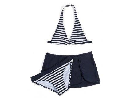 Kvalitní dívčí 3-dílné rychleschnoucí plavky Losan modro-bílé