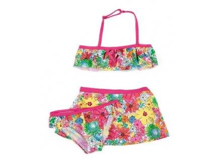 Kvalitní dívčí 3-dílné rychleschnoucí plavky Losan kytičky