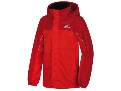 Kvalitní dětská nepromokavá zátěrová bunda s kapucí a reflexními prvky Hannah Supply JR chilli pepper / flame scarlet v červené barvě