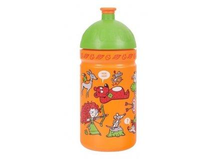 Kvalitní plastová dětská láhev bez BPA RB Mědílek Zdravá láhev Rebelka 0,5 l v oranžovo-zelené barvě
