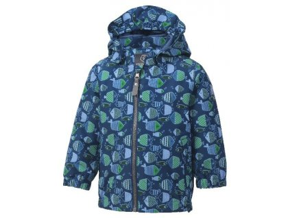 Kvalitní dětská nepromokavá jarní outdoorová bunda s kapucí a reflexními prvky Color Kids Torke - Estate blue v modré barvě