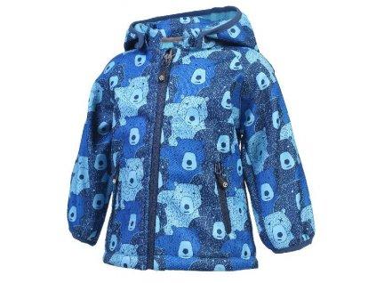Kvalitní dětská zateplená jarní softshellová bunda s kapucí a reflexními prvky Color Kids Keast softshell Ocean v modré barvě
