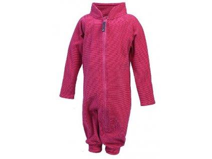 Kvalitní dětský hřejivý fleecový overal Color Kids Rilion mini fleece suit Rose camellia v růžové barvě