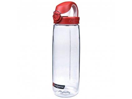 Nalgene dětská láhev OTF 650 ml čirá - červené víčko