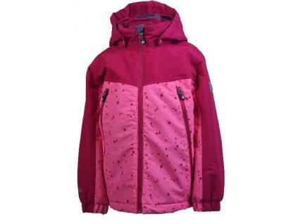 Kvalitní dětská zimní zateplená lyžařská bunda s kapucí a reflexními prvky Color Kids Kenjo ski jacket Rasberry v červené barvě