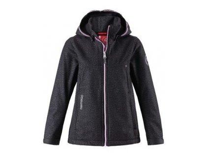 Kvalitní dětská zateplená jarní softshellová bunda s kapucí a reflexními prvky Reima Cornise dark grey v šedé barvě