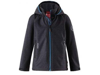 Kvalitní dětská zateplená jarní softshellová bunda s kapucí a reflexními prvky Reima Zayak dark grey v tmavě šedé barvě