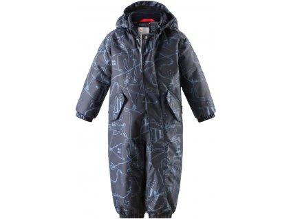 Kvalitní dětský zimní nepromokavý overal (kombinéza) s kapucí a reflexními prvky Reima Bunny navy v modré barvě