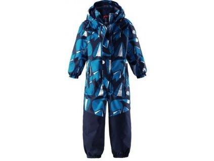 Kvalitní dětský zimní nepromokavý overal (kombinéza) s kapucí a reflexními prvky Reima Otsamo navy fox v modré barvě