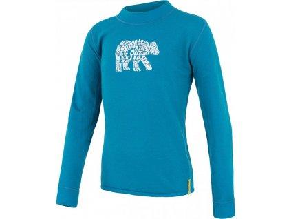 Kvalitní dětské teplé a příjemné funkční prádlo Sensor merino DF Bear v modré barvě