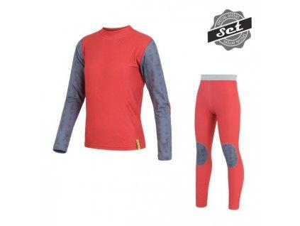 Kvalitní dětské teplé a příjemné funkční prádlo SENSOR FLOW SET v červené barvě