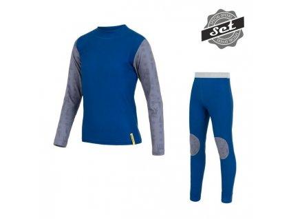 Kvalitní dětské teplé a příjemné funkční prádlo SENSOR FLOW SET v modré barvě
