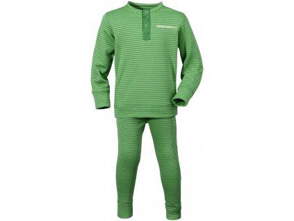 Kvalitní dětské teplé a příjemné funkční prádlo Didriksons Moarri v zelené barvě