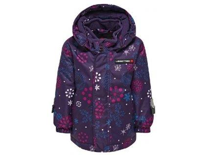 Kvalitní dětská zimní zateplená bunda s odnímatelnou kapucí a reflexními prvky LEGO® Wear Janna ve fialové barvě