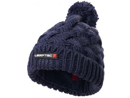 Kvalitní dětská zimní pletená čepice s bambulí LEGO® Wear Ayan 773 v tmavě modré barvě