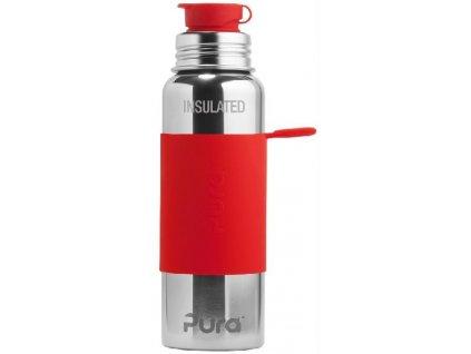 Kvalitní termoska bez plastových částí se sportovním uzávěrem Pura Termo 650 ml v červené barvě