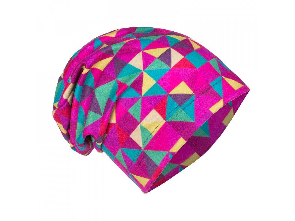Unuo, Dětská čepice fleecová spadená, Triangl holka Velikost: S (45 - 48 cm)