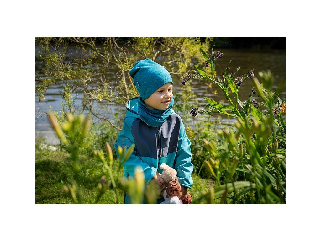 Unuo, Dětská čepice z teplákoviny spadená, Jahodová Velikost: L (53 - 58 cm)