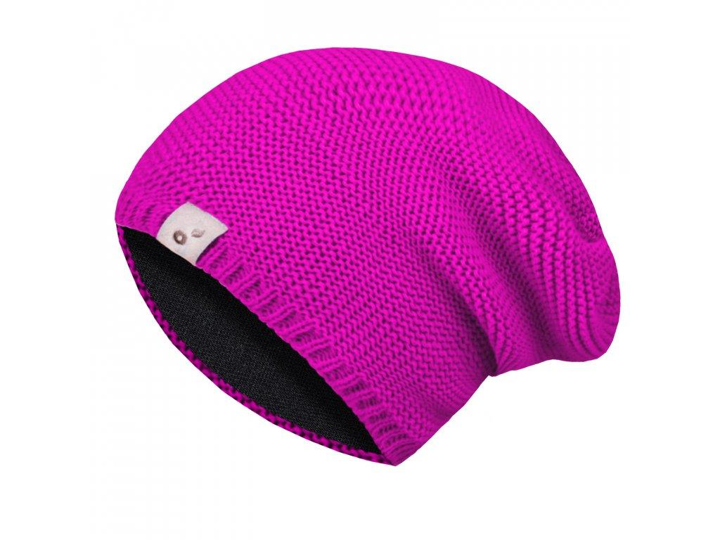Unuo, Dětská čepice pletená, Fuchsiová Velikost: S