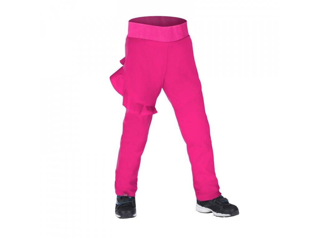 Unuo, Dětské softshellové kalhoty s fleecem pružné Fantasy, Fuchsiová Velikost: 98/104