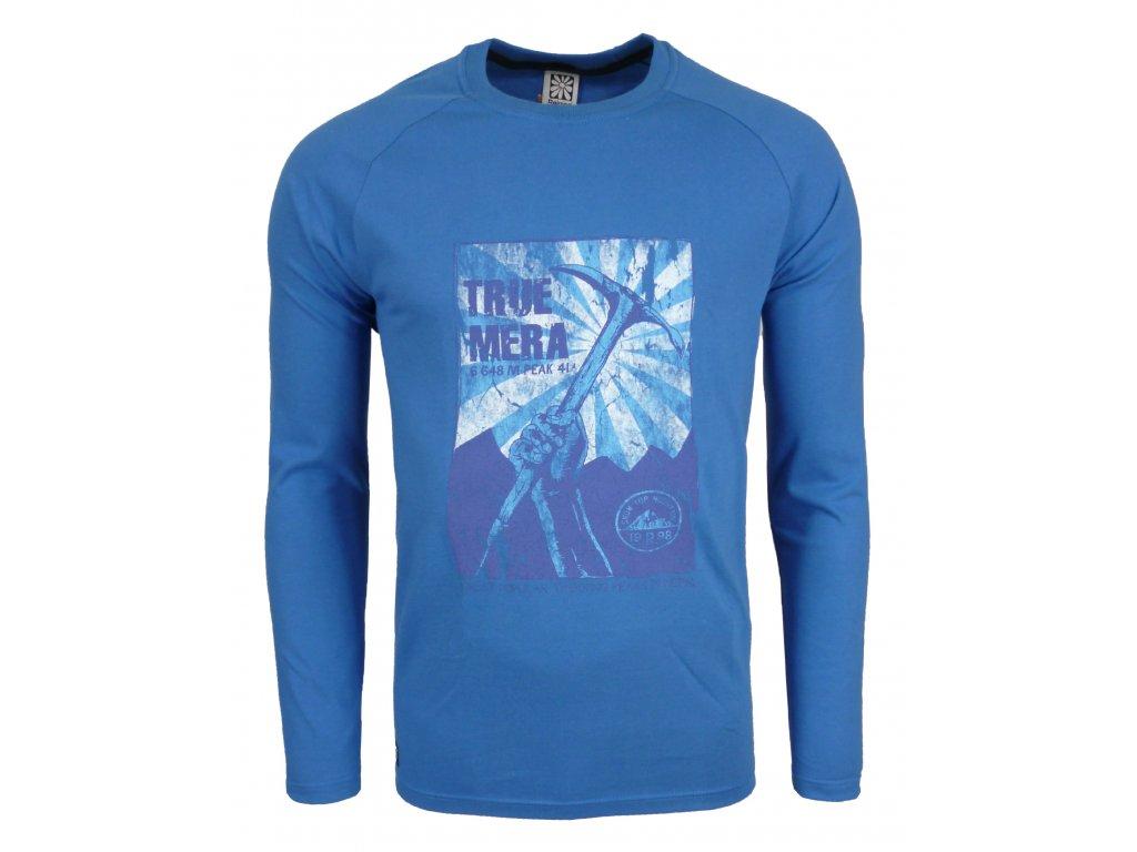 Pánské bavlněné tričko s dlouhým rukáve Rejoice - Lamium (modré) (Velikost XXL)