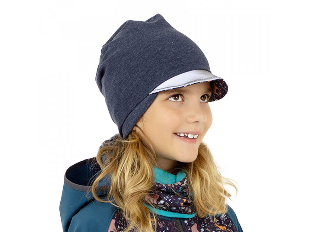 Unuo, Dětská čepice z teplákoviny s reflexním kšiltem spadená, Jeans temný, Noční zvířátka