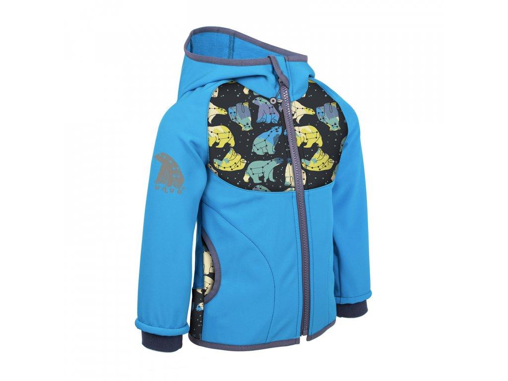 Unuo, Dětská softshellová bunda s fleecem, Tyrkysová, Souhvězdí medvěda