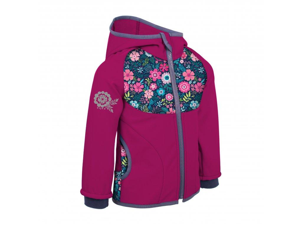 Unuo, Dětská softshellová bunda bez zateplení, Tm. Růžová Malinová, Květinky