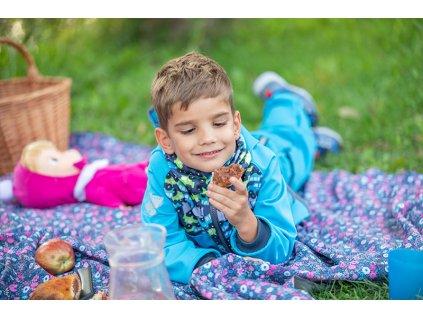 Unuo, Dětská čepice fleecová spadená, Autíčka Velikost: L (53 - 58 cm)
