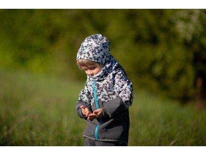 Unuo, Dětská čepice fleecová spadená, Metricon kluk Velikost: L (53 - 58 cm)