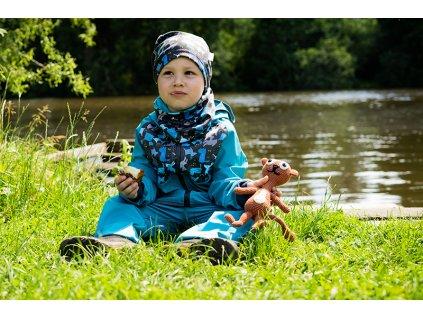 Unuo, Dětská čepice fleecová spadená, Pejsci Velikost: L (53 - 58 cm)