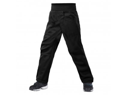 Unuo, Dětské softshellové kalhoty bez zateplení pružné Cool, Černá