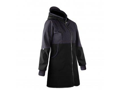 Unuo, Dámský softshellový kabát s fleecem, Černá, Žíhaná Antracitová Velikost: M