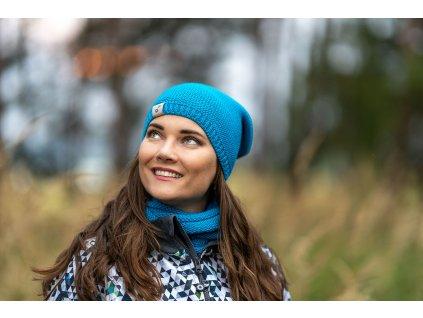Unuo, Dámská čepice pletená, Tyrkysová Velikost: dámská (56 - 58)