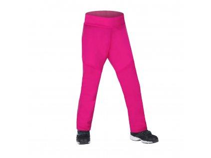 Unuo, Dětské softshellové kalhoty s fleecem pružné Sporty, Fuchsiová Velikost: 98/104