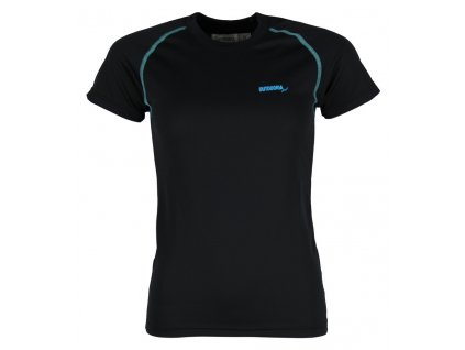 Dámské funkční bambusové triko Outdooria - Free Style (černé - modré logo) (Velikost XL)