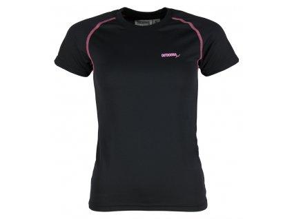 Dámské funkční bambusové triko Outdooria - Free Style (černé - sv. růžové logo) (Velikost XL)