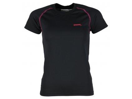 Dámské funkční bambusové triko Outdooria - Free Style (černé - tm. růžové logo) (Velikost XL)