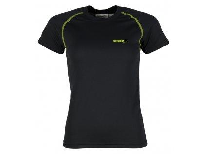 Dámské funkční bambusové triko Outdooria - Free Style (černé - zelené logo) (Velikost XL)