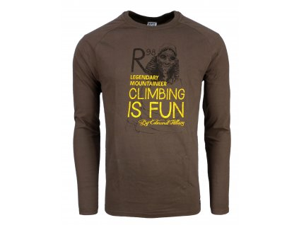 Pánské bavlněné tričko s dlouhým rukáve Rejoice - Lamium (hnědé) (Velikost XXL)