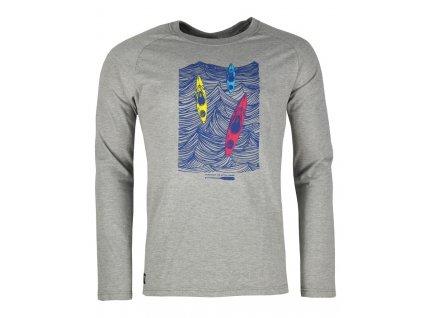 Pánské bavlněné tričko s dlouhým rukáve Rejoice - Lamium (šedé) (Velikost XXL)