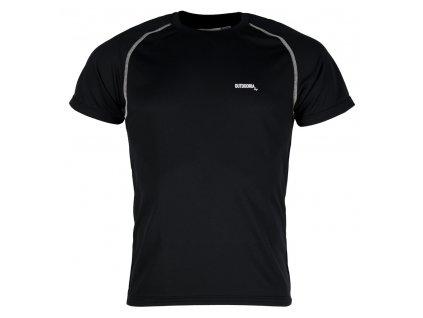 Pánské funkční bambusové triko Outdooria - Free Style (černé - bílé logo) (Velikost XXL)