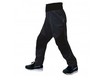 Unuo, Dětské softshellové kalhoty s fleecem pružné Flexi, Černá, Černá