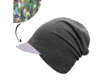 Unuo, Dětská čepice z teplákoviny s reflexním kšiltem spadená, Grafitová Šedá, Kouzelné stromy