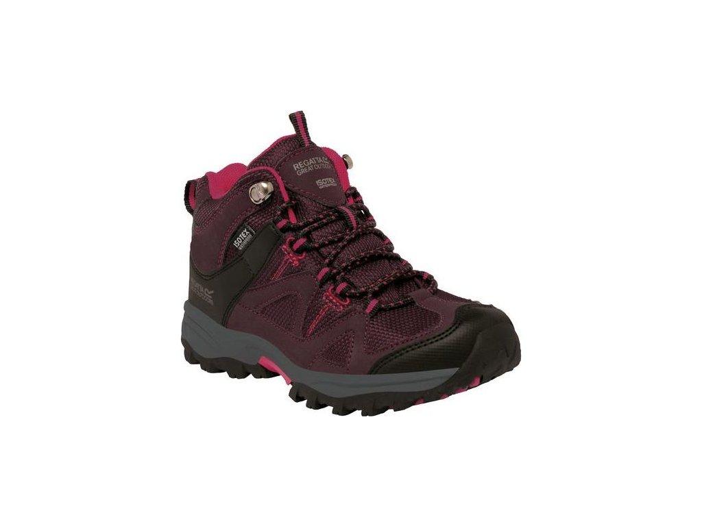 Dziecięce buty trekkingowe RKF470 REGATTA Gatlin Mid Fioletowy kolor