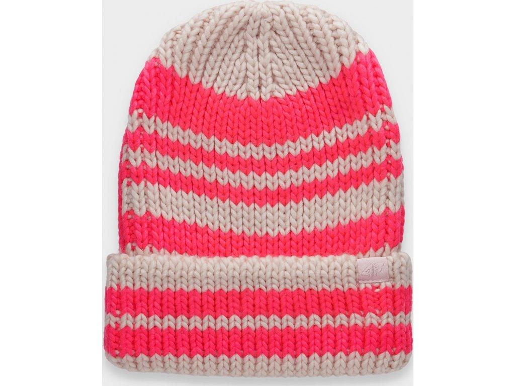 Damska czapka zimowa 4F CAD158 Różowa