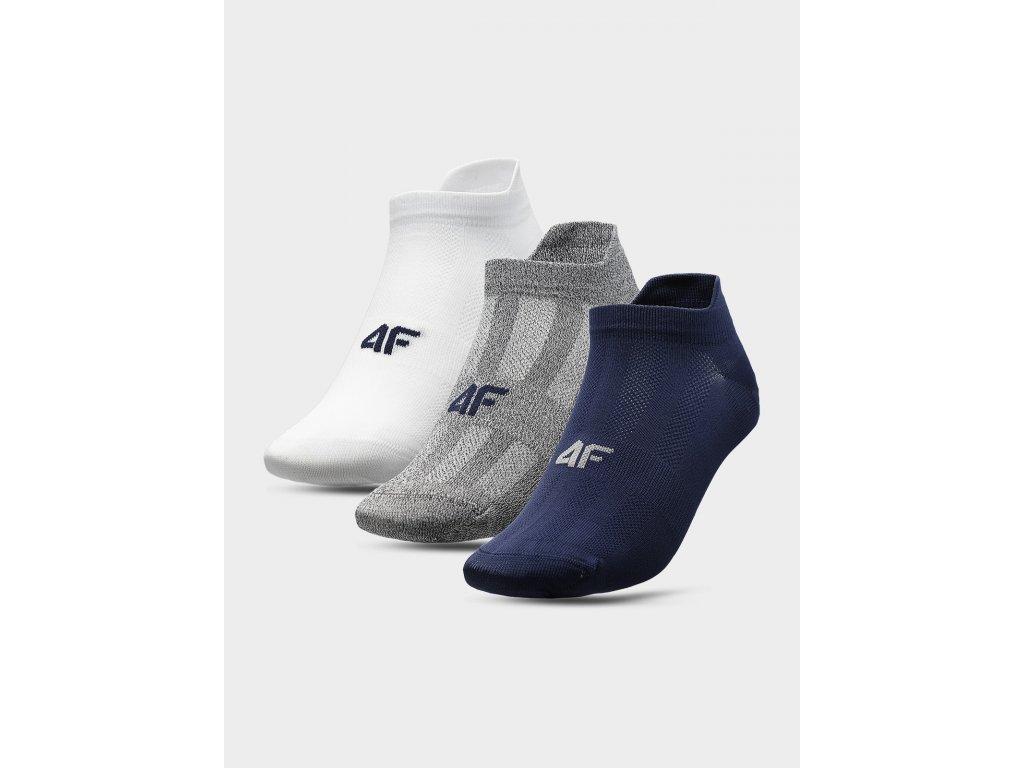 Pánské sportovní ponožky 4F SOM213 Bílé Modré Šedé (3 páry)