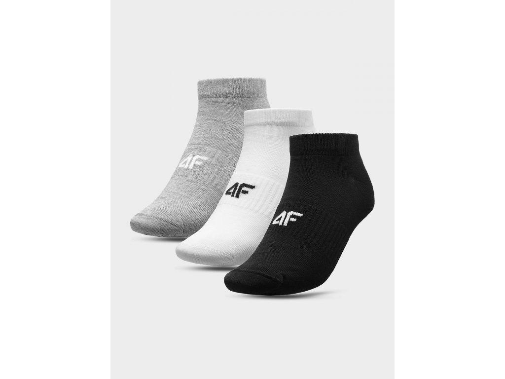Pánské kotníkové ponožky 4F SOM301 Šedé Bílé Černé (3páry)