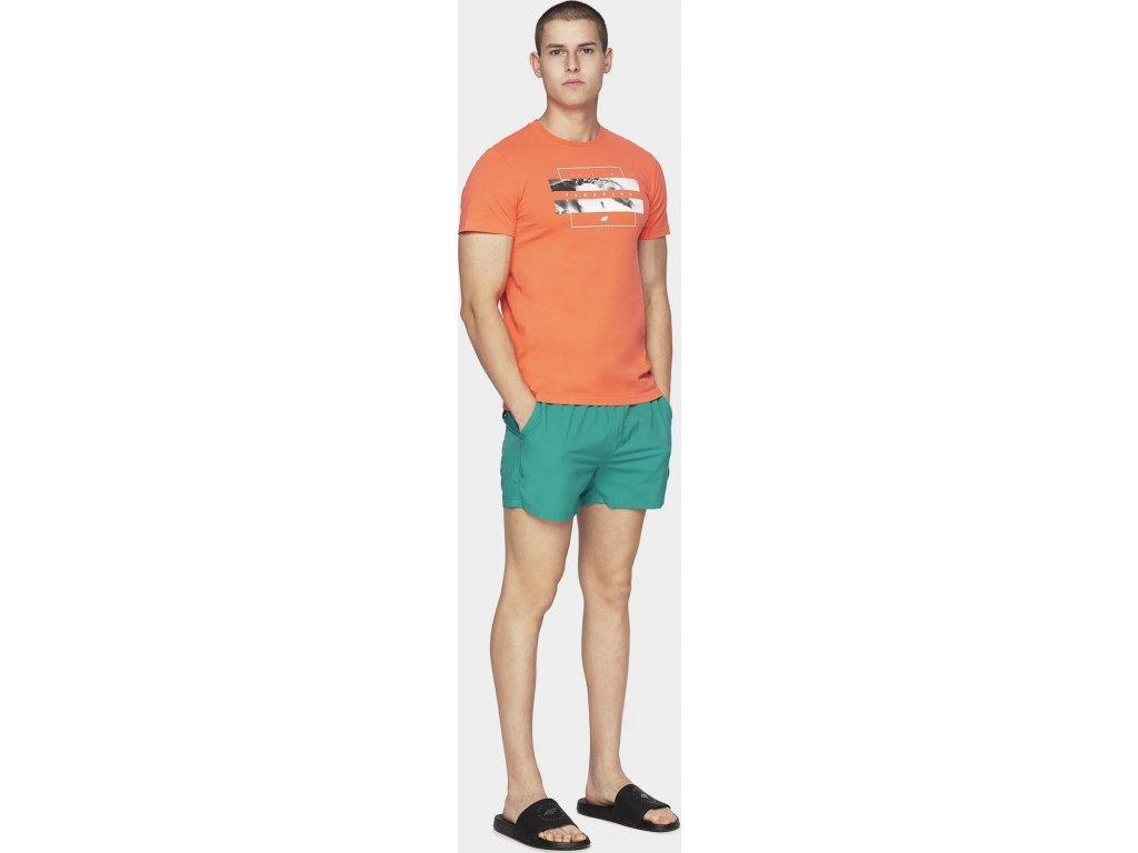 Męskie szorty plażowe 4F SKMT300 turkusowe